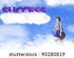 Success photo concept: businesswoman climbing ladder to the sky - stock photo
