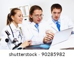 group of doctors in uniforms... | Shutterstock . vector #90285982