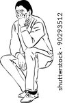 sketch of a man covering his... | Shutterstock . vector #90293512