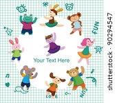 cartoon animal dancer seamless... | Shutterstock .eps vector #90294547