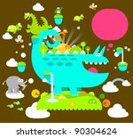 cute reptile  animals ... | Shutterstock .eps vector #90304624