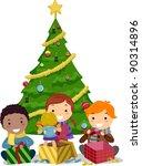 illustration of kids opening... | Shutterstock .eps vector #90314896