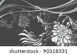 asian floral pattern sample | Shutterstock .eps vector #90318331