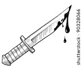 Doodle style knife or murder vector illustration - stock vector