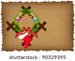 christmas wreath and sock on...   Shutterstock .eps vector #90329395