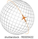 Airplane Flying Round The Globe