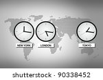 Abstract world map with clocks representing different time zones in big cities like Tokyo, London and NEw York. - stock photo