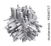 3d city on cube | Shutterstock . vector #90340717
