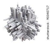 3d city on cube | Shutterstock . vector #90340717