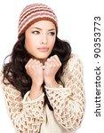 pretty black hair woman holding ...   Shutterstock . vector #90353773