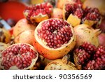 Pomegranate fruit at Bangkok morning market. - stock photo