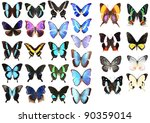 Stock photo very many blue butterflies isolated on white background 90359014