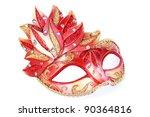 Pink mask isolated on white background. - stock photo