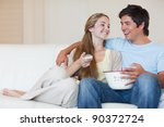 charming couple watching...   Shutterstock . vector #90372724