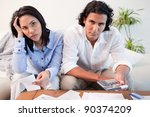 young couple calculating their... | Shutterstock . vector #90374209