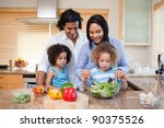 young family preparing salad... | Shutterstock . vector #90375526