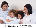 happy young family enjoys... | Shutterstock . vector #90375910