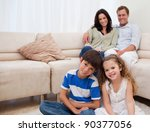 happy family sitting in the... | Shutterstock . vector #90377056