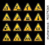 set triangular warning sumbols  ... | Shutterstock .eps vector #90379264