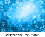 Dark blue bright Christmas background with snowflakes in different sizes. Snowflakes are drawn from these natural snowflakes. - stock photo