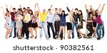 group students happy isolated... | Shutterstock . vector #90382561