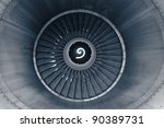Front view on jet engine - stock photo