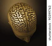 labyrinth in the human brain - stock photo