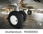 Landing gear of airplane under maintenance. - stock photo