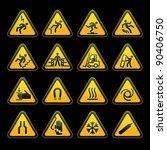 set simple triangular warning... | Shutterstock .eps vector #90406750