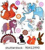 cartoon animals  big set  | Shutterstock .eps vector #90412990