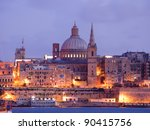 Night View Of Valletta With Th...