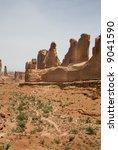 hiking trail utah usa with mesa in desert environment - stock photo