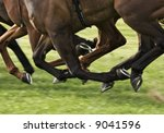 Race Horses Galloping With All...