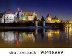 Marienburg castle in Malbork at night, Poland - stock photo