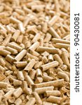 the wooden pellet .ecological heating - stock photo