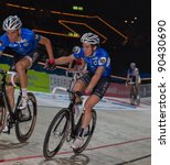 Small photo of ZURICH-NOV. 30: Members of the professional Team Hester Morkov changes lead role at Americaine race at Sixday-Nights Zurich 2011 at Zurich Hallenstadion on November 30, 2011 in Zurich, Switzerland.