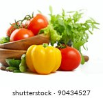 fresh vegetables on the white... | Shutterstock . vector #90434527