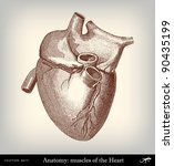 engraving vintage heart from ... | Shutterstock .eps vector #90435199
