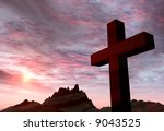 Red Stone Cross On A Backgroun...
