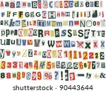 newspaper letters  numbers and... | Shutterstock .eps vector #90443644