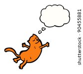 Stock vector cartoon flying cat with thought bubble 90455881