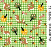 cute squirrel   acorn pattern | Shutterstock .eps vector #90458452