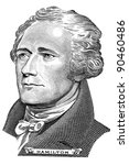 Small photo of Portrait of Alexander Hamilton in front of the ten dollar bill