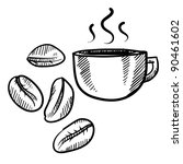 Doodle style coffee bean with cup vector illustration - stock vector