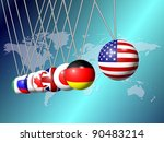Newtons cradle balls replaced with flags of G8 group members / G8 Newtons cradle - stock photo