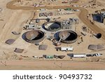Aerial view of construction at a water reclamation plant - stock photo