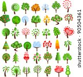 set of icons of different trees ... | Shutterstock .eps vector #90504361