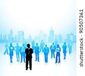illustration of leader standing ... | Shutterstock .eps vector #90507361