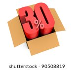 one open carton box with the 30 percent rate number that comes out (3d render) - stock photo