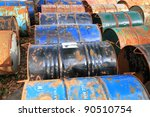 rusty fuel and chemical drums   Shutterstock . vector #90510754